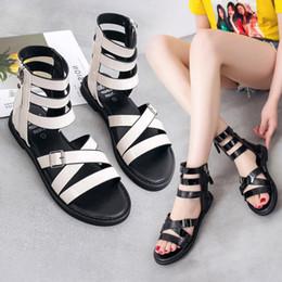 $enCountryForm.capitalKeyWord Australia - 2019 Top Sales Summer Rome Cross Belt Style Fashion Short Bootie Metal Punk Style for Cool Girls Ladies Women Dress Shoes Sandals Slippers