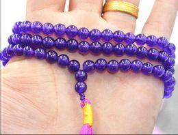 $enCountryForm.capitalKeyWord Australia - necklace Free shipping ++++New 6mm stone Buddhist Amethyst 108 Prayer Beads Mala Bracelet Necklace