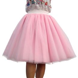 $enCountryForm.capitalKeyWord Australia - Custom Made Women Tulle Skirt 6 Layer Of White Pink Black Ball Gown High Waist Falda Midi Knee Length Plus Size Tutu Skirts J190628