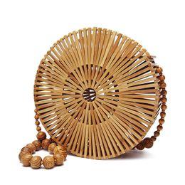 $enCountryForm.capitalKeyWord UK - Women Wooden Beads Handbags Beach Bamboo Weaving Bag Handmade Bohemian Shoulder Bags Vintage Crossbody Bag