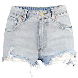 Nuevo 2018 Pantalones cortos atractivos Pantalones vaqueros Pantalones  cortos femeninos para mujeres con cintura alta Pantalones vaqueros rasgados  Mujer ... 4dc93bd2d823