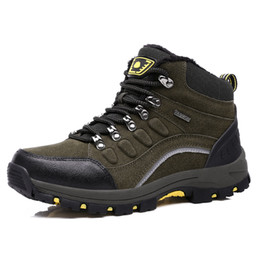 China Real Leather Outdoor Hiking Shoes Plus Velvet Men Warm Snow Boots Walking Climbing Non-slip Women Hiking Shoes Trekking Shoes suppliers