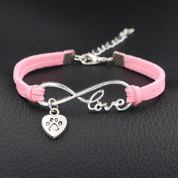 $enCountryForm.capitalKeyWord Australia - Drop Shipping Hot Selling Europe Fashion Infinity Love Pets Dog Paw Heart sign Bracelet Bangle With Pink Leather Suede Jewelry for Women Men