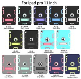 Pc Tablets For Kids Australia - iPad Pro 11 Shockproof Hybrid Case Kids Safe Silicone+PC Hard Back Cover with Kickstand for Apple iPad Pro 11 (2018 Release) Tablet+Stylus