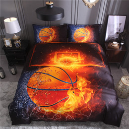 Discount beds china - 3D Bed Set Basketball and Fire Duvet Cover Sets Football Single Size Bed Cover Full Size Bed Linen China Bedding Kit