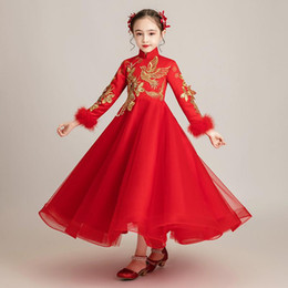 preppy clothing Australia - Flower Girls Dress Hanfu Kids Girl Floral Print Runway Dresses Princess Birthday Party Wedding Dress Vestidos Children Clothing S419