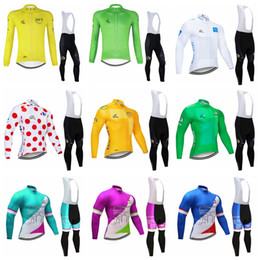 Tour france bike online shopping - TOUR DE FRANCE team Cycling long Sleeves jersey bib pants sets mens quick dry Clothing maillot mountain bike Gel Padded