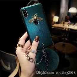 Iphone W NZ - Fashion Luxury Design Leather Case W  Wrist Strap Hair Ball For iPhone X 7 8 XR