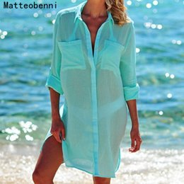 Swimsuit Strap Australia - Women Kaftan Beach Dress Cover Up Long Shirts Pareos Sarongs Sexy Bikini Solid Cover-up Tunic Swimsuit Robe De Plage White Q190521