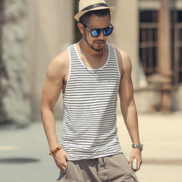 Cotton Undershirts Australia - Men Summer Slim Casual Fashion Cotton Striped Tank Tops Men Bodybuilding New Sleeveless Singlets Brand Undershirt Vest T855 Y19042204