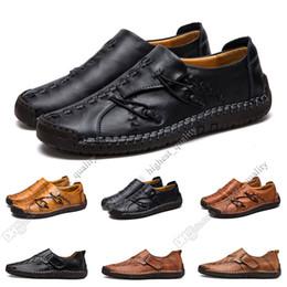 Wholesale new Hand stitching men's casual shoes set foot England peas shoes leather men's shoes low large size 38-48 Ten