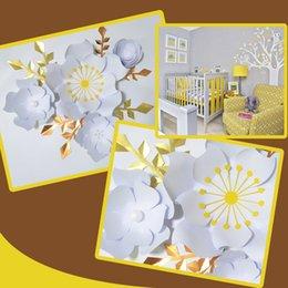 Vente en gros Main Blanc Rose Bricolage Papier Fleurs Feuilles D'or Ensemble Pour La Fête De Mariage Décorations Décorations Pépinière Mur Deco Tutoriels Vidéo