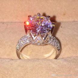 Gemstones diamond online shopping - Nlm99 Size Fashion Sterling Silvre Gemstone Diamond CZ Crown Jewelry Cocktail Wedding Bride Band Rings finger for Women