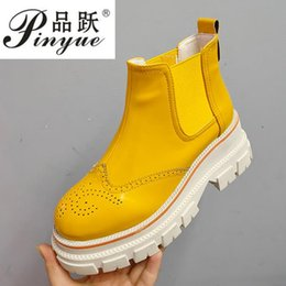 Carved boots online shopping - High quality British style patent leather carved brogue shoes high upper retro small shoes round toe ankle boots