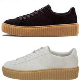 mens white patent leather shoes NZ - Fenty Creeper Women Basket Platform Casual Shoes Velvet Cracked Leather Suede Mens Black White Red Green mens Casual Sneakers 36-44 A06