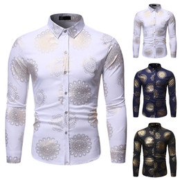 stamp shirt men 2019 - Men Fashion Casual Long Sleeved Printed shirt Men's New Style Fashion stamped Long Sleeve Shirt Printed Long-Sleeve