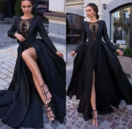 black lace jacket cap sleeve Australia - Black Sexy Satin Evening Dresses 2019 Long Sleeves Seen Through Lace High Split Formal Party Prom Gowns robes de soirée