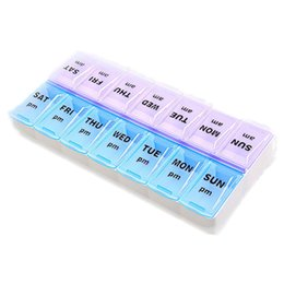 Tablet 14 NZ - 14 Lattices Storage Boxes Medical Kit Weekly Pills 7 Days Tablet Dispenser Organiser Case For AM PM
