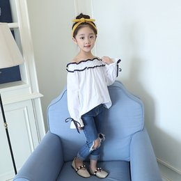 Girls Winter Shirts For Kids NZ - Solid Tops White Girls Shirts for School 2019 New Full Sleeve O-neck Girl Blouses Teenager Kids Children Clothing Clothes Bs082