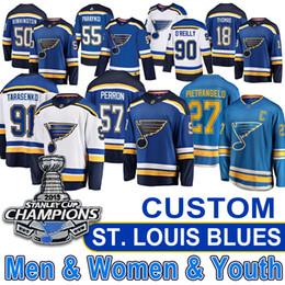 Venta al por mayor de Custom St. Louis Blues Jersey Vladimir Tarasenko Ryan O'Reilly Jaden Schwartz Maroon Binnington Stanley Cup Campeones camisetas de hockey