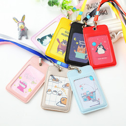 $enCountryForm.capitalKeyWord Australia - Women Business Lanyard Card Holder Leather Card Case For Student Candy Color Cute Cartoon Children Badge Id Photo Card Holders