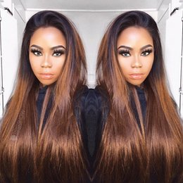 $enCountryForm.capitalKeyWord Australia - Good quality Silky straight Brazilian human hair Ombre color brown full lace hair wig for women with baby hair lace front wig