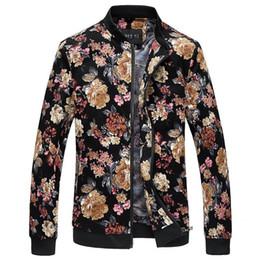 $enCountryForm.capitalKeyWord Canada - Wholesale- Bomber Jacket Men Autumn New Men Floral Jackets Hot Korean Slim Fit Long Sleeve Men Coats Stand Collar Mens Clothes Windbreaker
