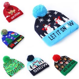 wholesale crochet hats for adults NZ - LED Knitting Hat Led Lighting Pom Beanie Adult Kids hats Snowflake Crochet Xmas Hats Lights Knitted Ball Cap Christmas hats for party 5132