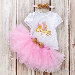Bodysuit Tutu Clothes Australia - 2019 New Ins Baby girl Birthday Outfits Clothing set Bodysuit Short sleeve +Tutu skirt+Sequins Bow Headband 3pcs set Pink Rose Hotsale