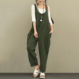 $enCountryForm.capitalKeyWord Australia - Cotton Linen Rompers Womens Jumpsuits 2019 Female Backless Overalls Playsuit Plus Size Pantalon Palazzo Macacao Drop Shipping