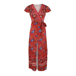 ladies floral cardigans UK - Women's Clothing Wholesale dress sexy V-neck cardigan waist printing lady long dress