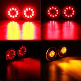 $enCountryForm.capitalKeyWord Australia - wholesale 2pcs 19 LEDs Car Red Yellow LED Rear Tail Lights Stop Brake Light for Truck Trailer Vehicles 12V 24V Side Lamp