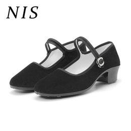 $enCountryForm.capitalKeyWord Canada - Designer Dress Shoes Nis Black Ankle Strap Women Pumps Woman Work Shoe Breathable Block Mid Heels Retro Casual Spring Autumn Ladies New