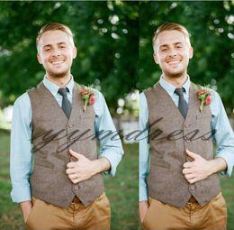 Formal Suits Waistcoat Australia - New Style Brown Wool Groom Vests Custom Made Formal Groom's Suit Vest Slim Fit Wedding Waistcoat For Men Groom Wear