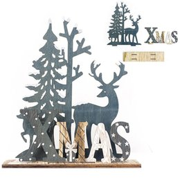cartoon wooden table NZ - Wooden Reindeer Santa Christmas Table Decoration for Home Splice Deer Xmas Ornaments Kids Gift for Home Christmas Party Decorations