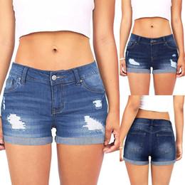 Wholesale womens jean shorts for sale - Group buy Womens Hot Sale Short Pants Summer Casual Denim Ripped Hole Mini Jeans Denim Shorts Hot Pants