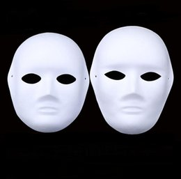 Full White Face Mask Woman Australia - Halloween Full Face Masks for Adults DIY Hand-Painted Pulp Plaster Covered Paper Mache Blank Mask Wholesale Men Women Plain Party Mask SN646