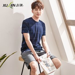 T Shirt Pyjamas NZ - Men leisure shorts and T-shirt pajama set male short pants sleepwear summer pyjamas cotton home wear plus size sleep and lounge