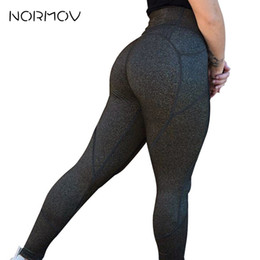 Black Workout Leggings Wholesale Australia - NORMOV High Waist Solid Color Fitness Leggings For Women Leggings Sport Women Fitness Yoga Pants Workout Gym