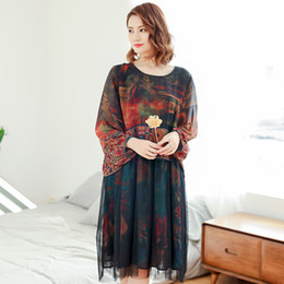 Chinese  2019 Spring women dress Cute style flower print Casual dress free size long sleeve for spring clothes manufacturers
