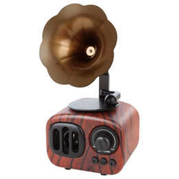$enCountryForm.capitalKeyWord Australia - Retro Trumpet Style Bluetooth Speaker Wireless Stereo Subwoofer Music Box Wooden Speakers with Mic FM radio TF for Phone
