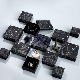 Wholesale DDisplay Wandering Earth Black Jewelry Box Forever Lovers Ring Case Planetary Chart Jewelry Necklace box Outer Space Bracelet Display