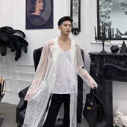 $enCountryForm.capitalKeyWord Australia - Fashion Men Hollow Black White Shirt Gothic Long Sleeve Shirt Cardigan Jacket Male Lovers Dress Party Couple 2019 Clothing