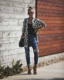 Wholesale leopard cardigans resale online - Women New Fashion Long Cardigan Sweater Leopard Printed Loose V Neck Pockets Sweaters Cardigans Female Knitwear Winter Tops