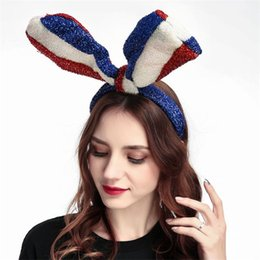 Headbands Bow Australia - Blue, White and Red US Flag Long Rabbit Ear big bow bowknot Bright Silk Cloth Headbands Hair hoop for Independence Day Party Favor 4754