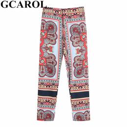 94785dcf1 GCAROL 2019 Women Totem Floral Ankle Length Pants Elastic Waist Vintage  Trousers Summer Spring Drape Design Pants