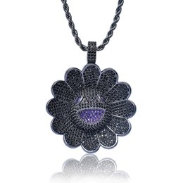Gold Pendant 18k Sunflower Australia - Iced Out Rotatable Spinner Sunflower Pendant Necklace Micro Paved Cubic Zirconia 3 Color Punk Hip Hop Jewelry
