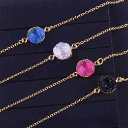 gold pendant designs for girls Australia - New Design Resin Stone Druzy Necklaces Gold Plated Geometry Stone Pendant Necklace For Elegant Women Girls Fashion Jewelry Xmas Gift T448