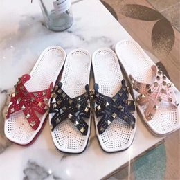 Rivets spots online shopping - Spot ss latest VL jelly shoes fashion original single foreign trade leather flat rivet sandals Europe and the United States high end slipp