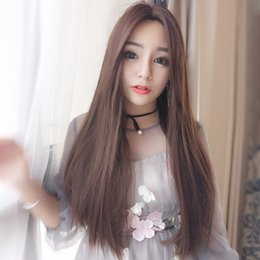 Discount long hair straight bangs - Cross-border new Korean wig female long straight hair no bangs fashion face wig chemical fiber wigs can be wholesale